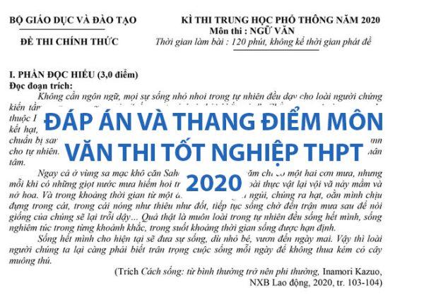dap an, thang diem mon van thi thpt 2020